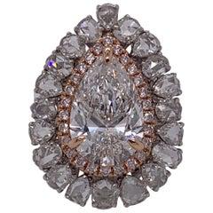 GIA Certified 6.02 Pears Shape Diamond Halo Ring