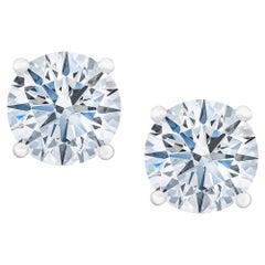 GIA Certified 6.02 Round Brilliant Cut 18 Carat Diamond Studs