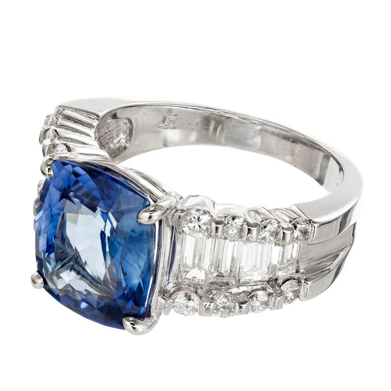 GIA Certified 6.03 Carat Cushion Cut Sapphire Diamond Platinum Engagement Ring In Good Condition For Sale In Stamford, CT