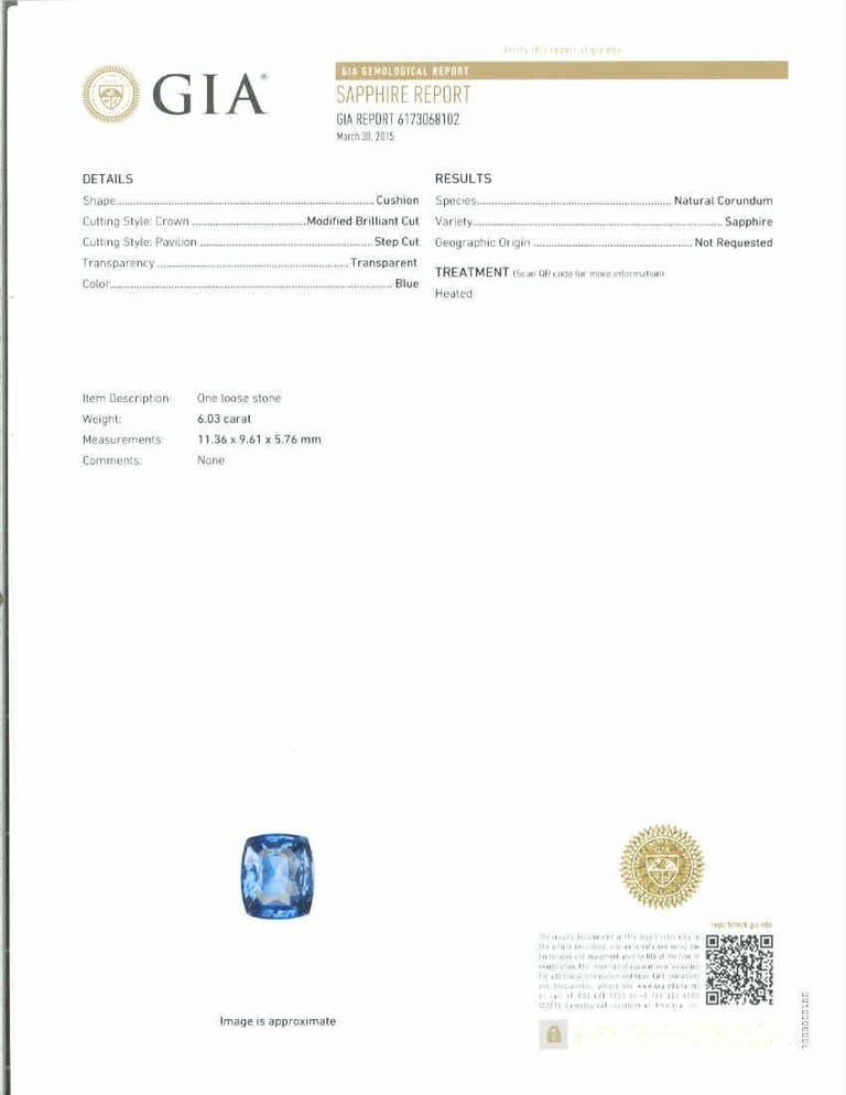 Women's GIA Certified 6.03 Carat Cushion Cut Sapphire Diamond Platinum Engagement Ring For Sale