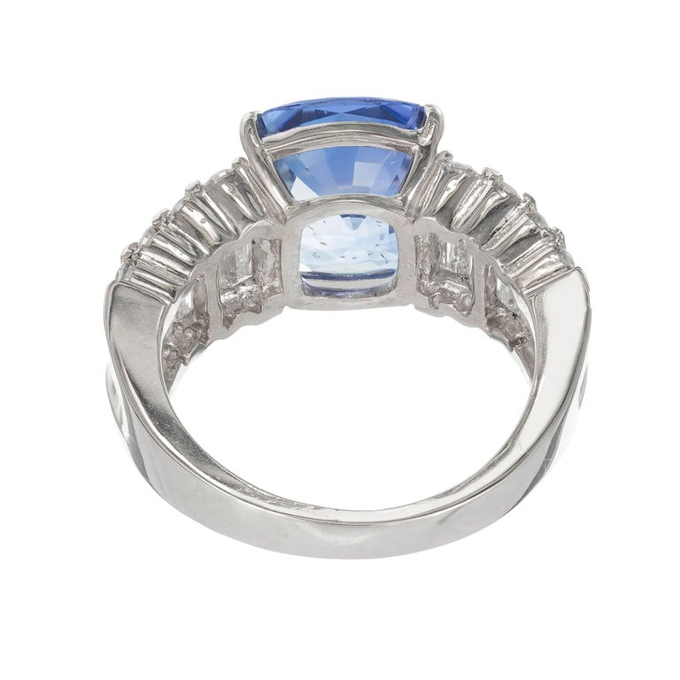 GIA Certified 6.03 Carat Cushion Cut Sapphire Diamond Platinum Engagement Ring For Sale 1
