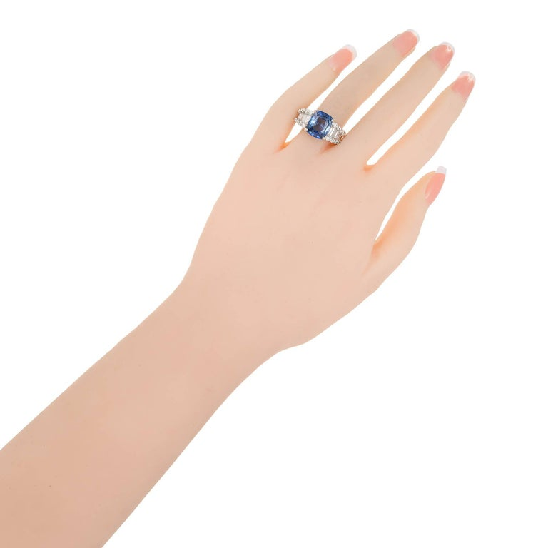 GIA Certified 6.03 Carat Cushion Cut Sapphire Diamond Platinum Engagement Ring For Sale 2