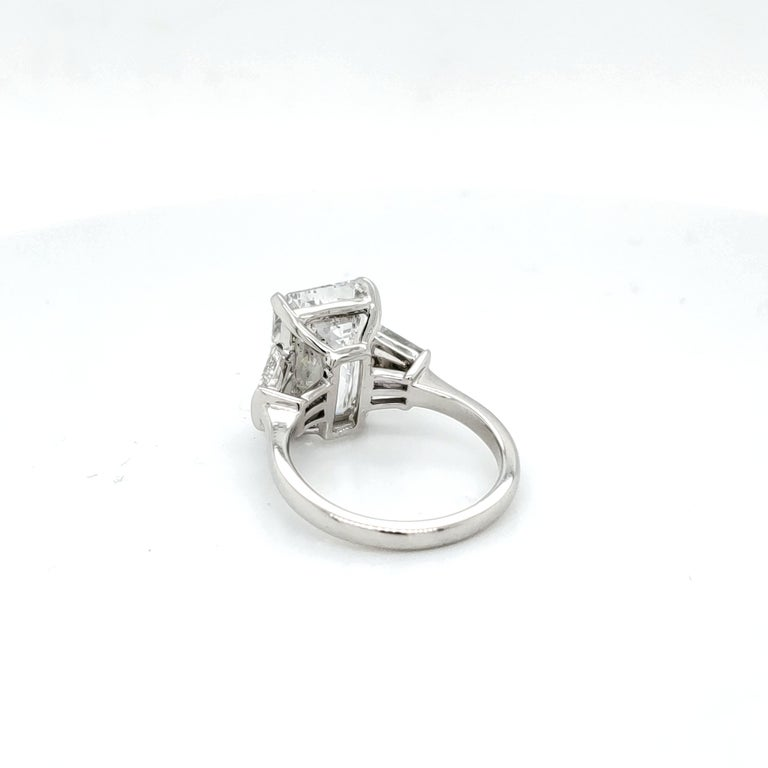 GIA Certified 6.03 Carat Emerald Cut Diamond Ring For Sale 1