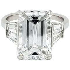 GIA Certified 6.03 Carat Emerald Cut Diamond Ring