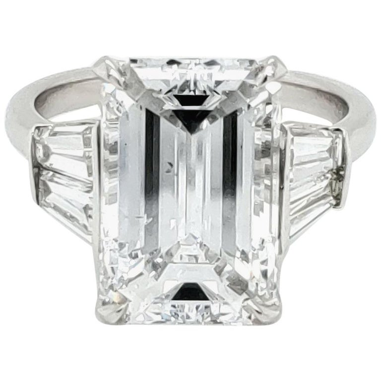 GIA Certified 6.03 Carat Emerald Cut Diamond Ring For Sale