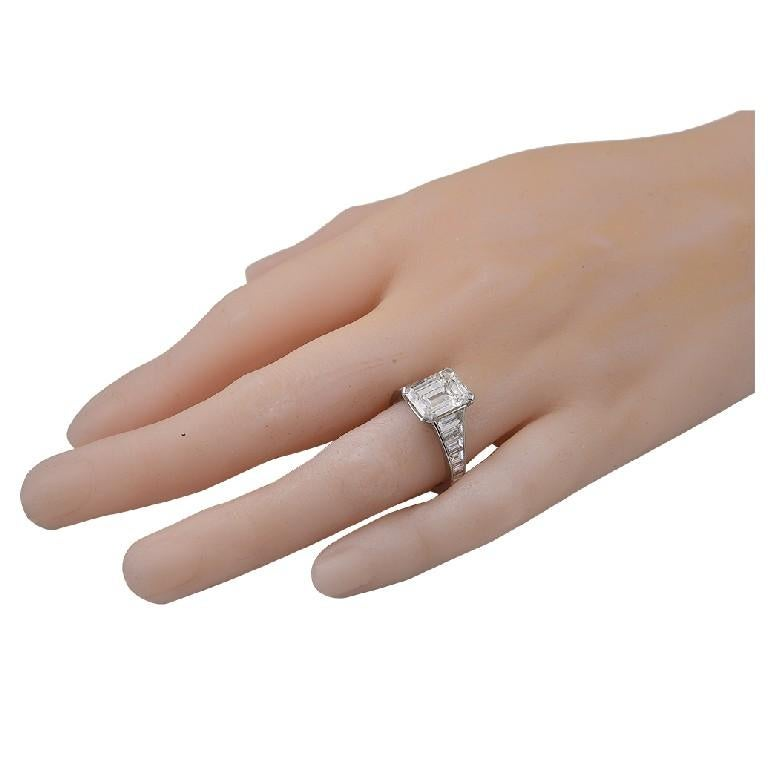 Trapezoid Cut GIA Certified 6.06 Carat Emerald Cut Diamond Engagement Ring For Sale