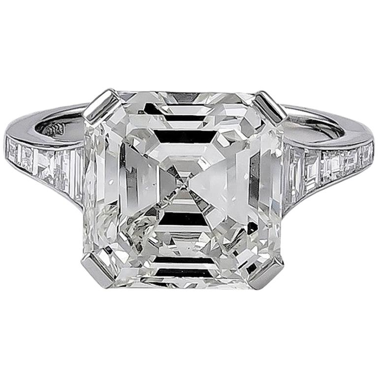 GIA Certified 6.06 Carat Emerald Cut Diamond Engagement Ring For Sale