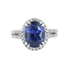 GIA Certified 6.07 Carat Natural Ceylonese Blue Sapphire Platinum Cocktail Ring