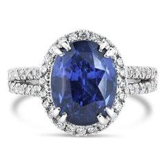GIA Certified 6.07 Carat Natural Ceylonese Blue Sapphire Platinum Cocktail Ring