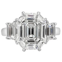 Roman Malakov, 6.08 Carat Step Cut Diamond Three-Stone Engagement Ring