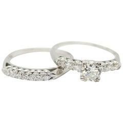 GIA Certified .60pts Old European Brilliant Cut Diamond Wedding Set