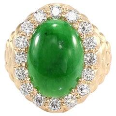 GIA Certified 6.10 Carat Type A Imperial Jadeite Jade 18 Karat Yellow Gold Ring