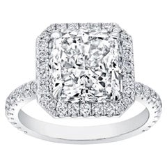 GIA Certified 6.11 Carat Square Radiant Diamond Halo Solitaire Ring