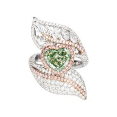GIA Certified 6.13 Carat Fancy Yellow Green and Pink Diamond Ring in 18k Gold