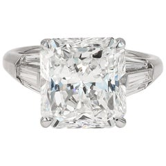 GIA Certified 6.14cts. Radiant Cut & Tapered Baguette Diamond Ring in Platinum