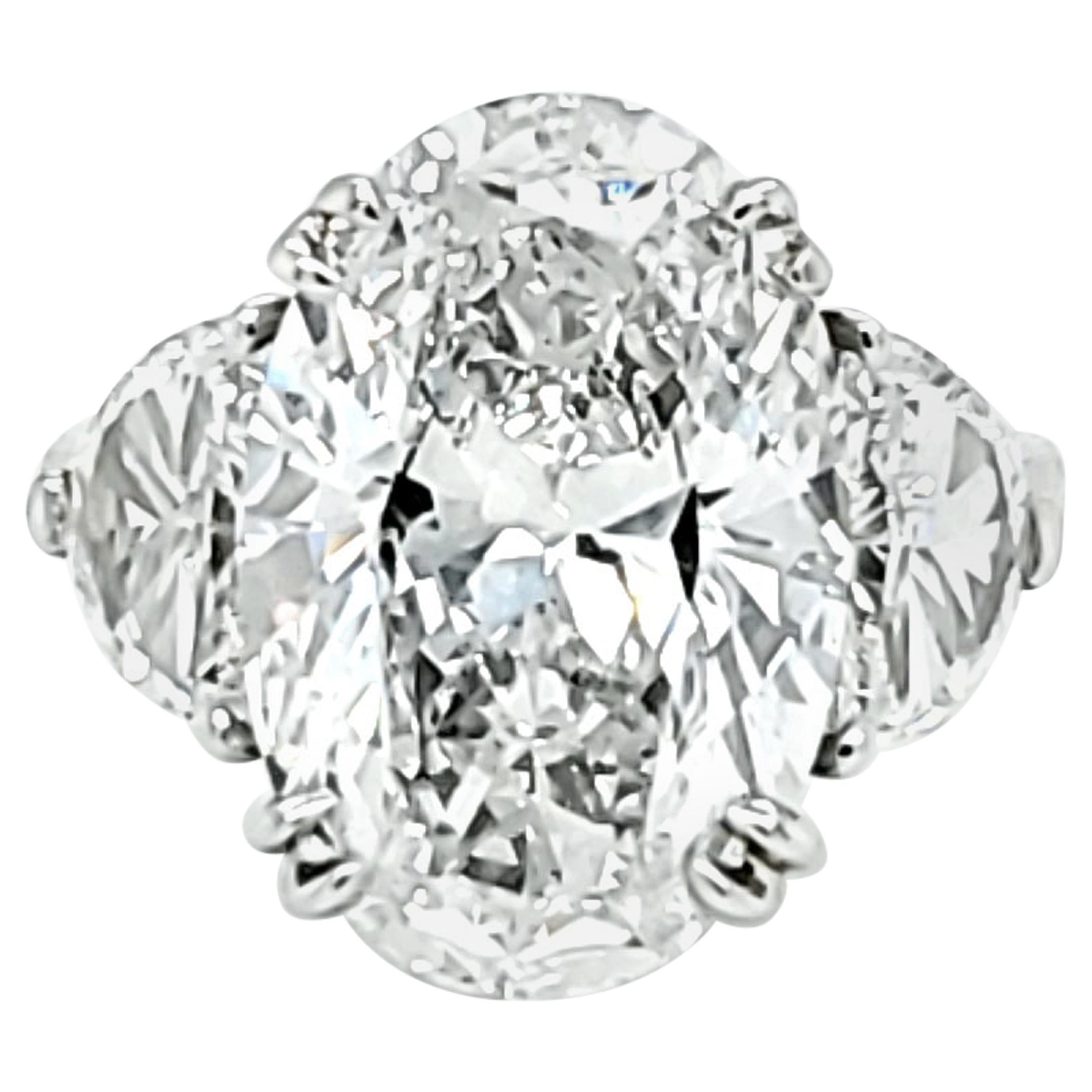 GIA Certified 6.16 Carat Oval Cut Diamond Three-Stone Ring