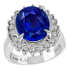 GIA Certified 6.17 Carat Sapphire Diamond Halo Ring