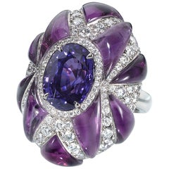 "GIA Certified 6.19 Blue-Purple ""Color Change"" Sapphire, Amethyst & Diamond Ring"