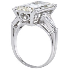 GIA Certified 6.19 Carat Emerald Cut Diamond Platinum Ring