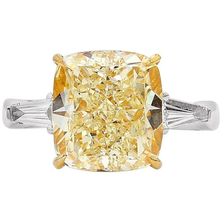 GIA Certified 6.19 Carat Light Yellow Natural Untreated Diamond Engagement Ring For Sale