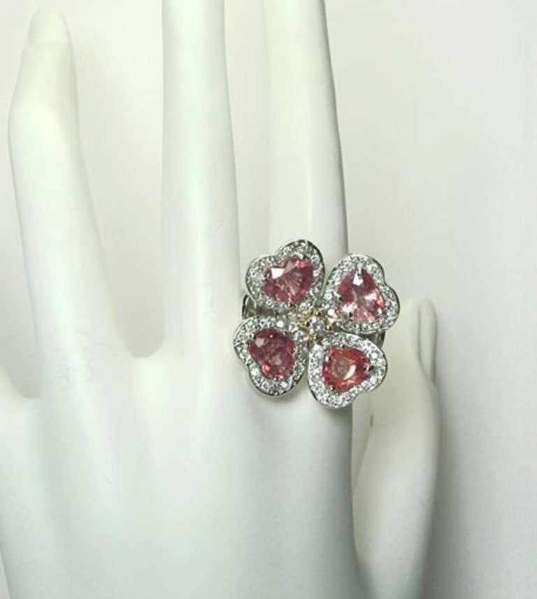 GIA 6.20 Carat Padparadscha Sapphire and Diamond Flower Ring 18K For Sale 7