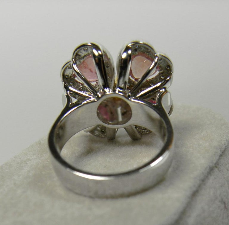 GIA 6.20 Carat Padparadscha Sapphire and Diamond Flower Ring 18K For Sale 3