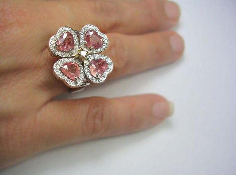 GIA 6.20 Carat Padparadscha Sapphire and Diamond Flower Ring 18K For Sale 4