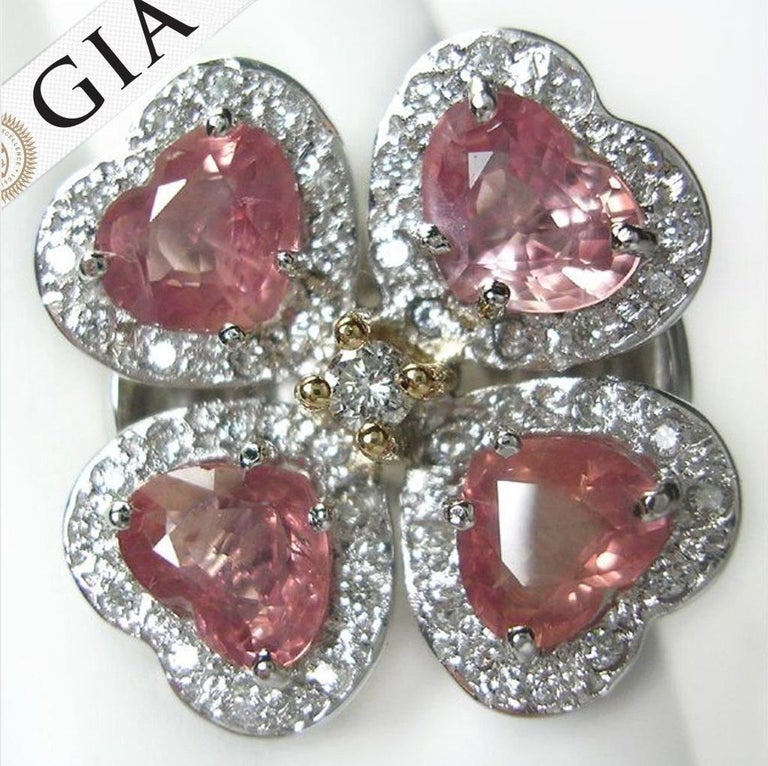 Women's GIA 6.20 Carat Padparadscha Sapphire and Diamond Flower Ring 18K For Sale