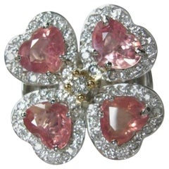 GIA 6.20 Carat Padparadscha Sapphire and Diamond Flower Ring 18K