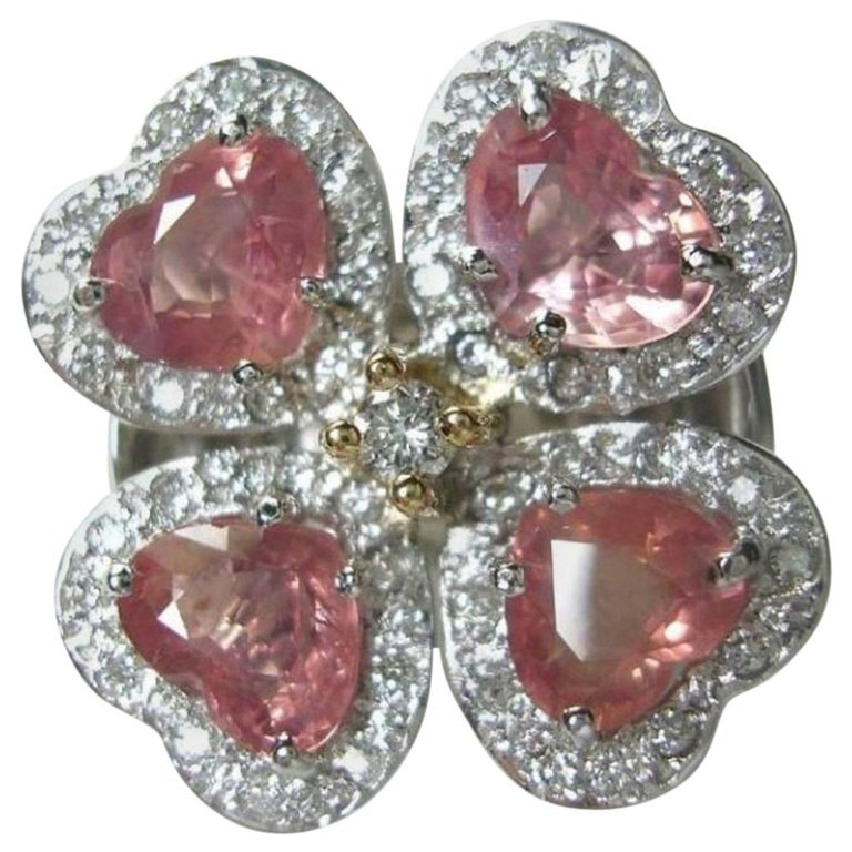 GIA 6.20 Carat Padparadscha Sapphire and Diamond Flower Ring 18K For Sale