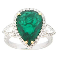 GIA Certified 6.21 Carat Pear Shape Emerald and Diamond Ring