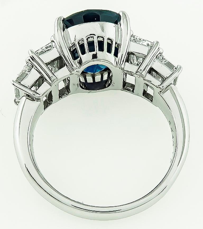 Oval Cut GIA Certified 6.21 Carat Sapphire Diamond Engagement Ring For Sale