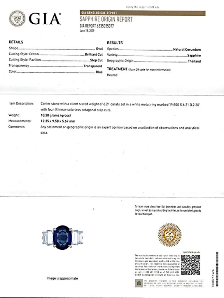 GIA Certified 6.21 Carat Sapphire Diamond Engagement Ring In Good Condition For Sale In New York, NY