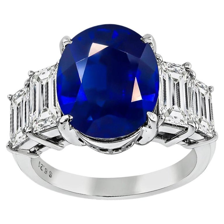 GIA Certified 6.21 Carat Sapphire Diamond Engagement Ring For Sale