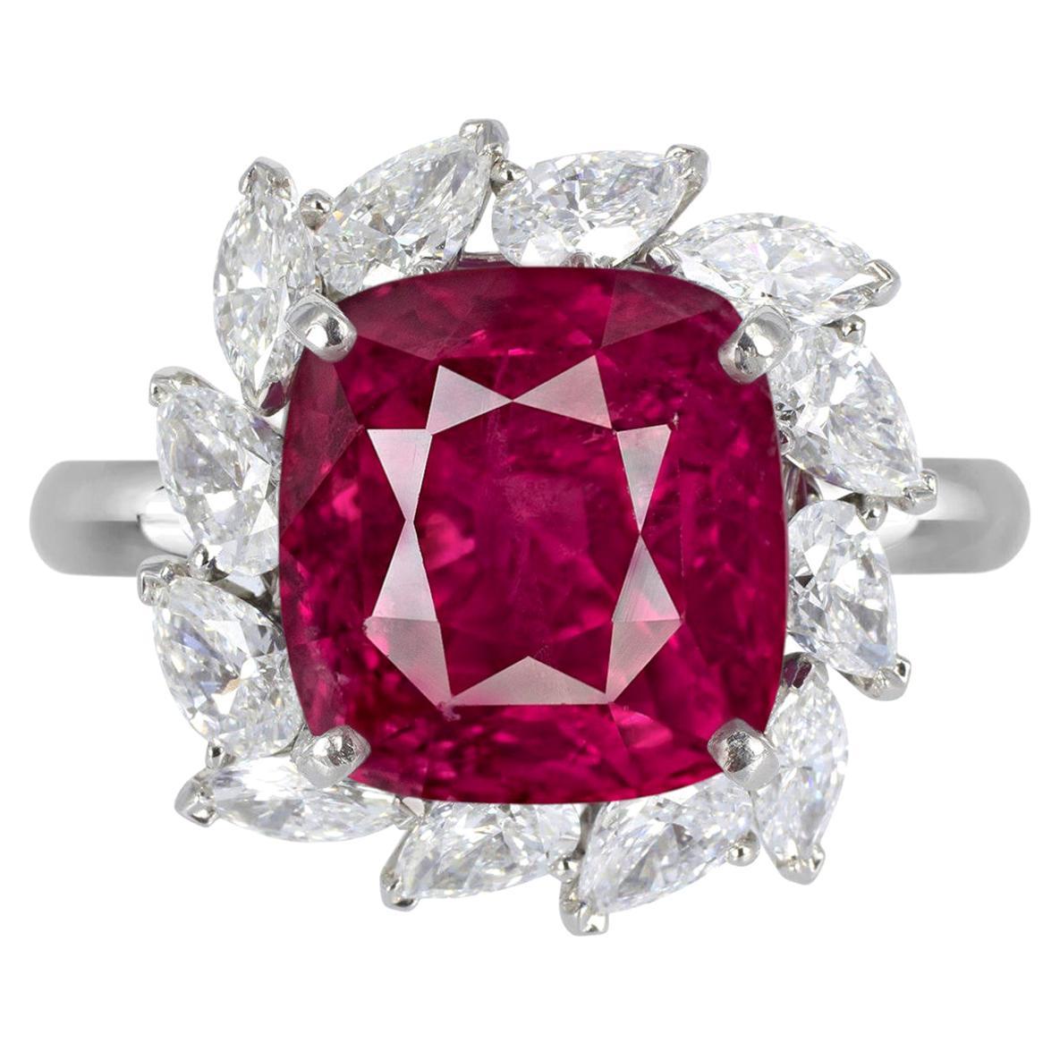 GIA Certified 6.21 Carat Vivid Red Ruby No Heat Diamond Cocktail Ring
