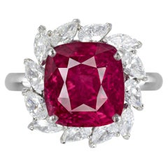 GIA Certified 6.21 Carat Vivid Red Ruby No Heat Diamond Cocktail Ring