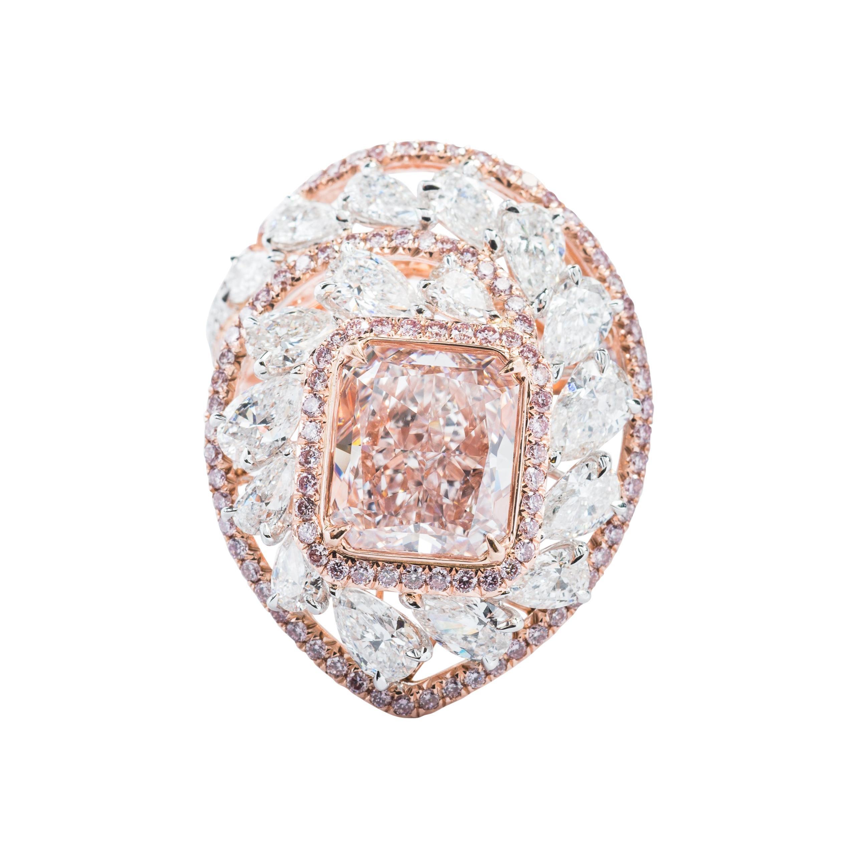 GIA Certified 6.23 Carat Light Pink Radiant Diamond Ring in 18k Rose Gold