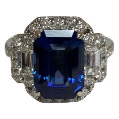 GIA Certified 6.26 Carat Blue Sapphire and Diamond Ring