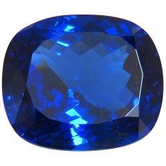 GIA Certified 62.60 Carat Natural Blue Cushion Cut Tanzanite Magnificent