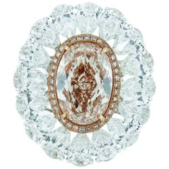 GIA Certified 6.27 Carat Fancy Pink-Brown Diamond Ring