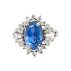 GIA Certified 6.28 Carat Royal Blue Sapphire Ring