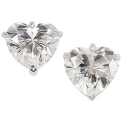 GIA Certified 6.28 Carats  Heart Shape Diamond Stud Earrings