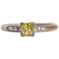 GIA Certified .63 Carat Art Deco Diamond 14 Karat Yellow Gold Engagement Ring