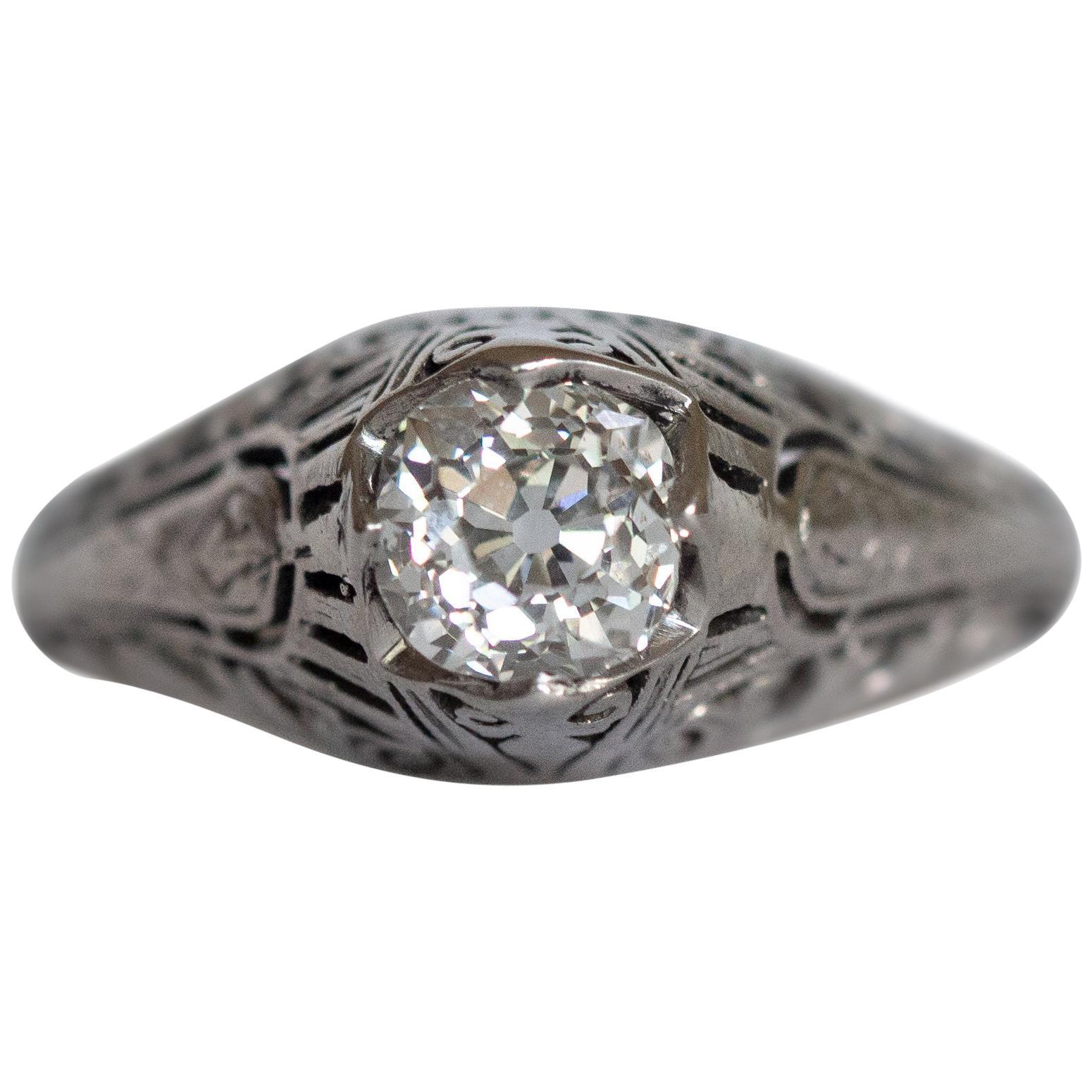 GIA Certified .63 Carat Diamond Platinum Engagement Ring