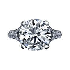 GIA Certified 6.31ct, Round Brilliant Diamond Ring
