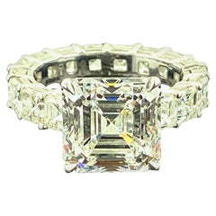 GIA Certified 6.32 Carat Asscher Cut Diamond Engagement Ring