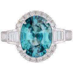 GIA Certified 6.32 Carat Oval Cut Greenish-Blue Zircon Ring in 18k White Gold