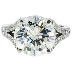 GIA Certified 6.32 Carat Round Brilliant Cut Diamond Platinum Engagement Ring