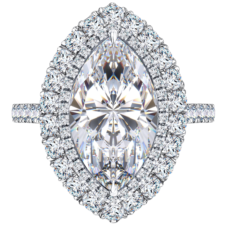 Bespoke GIA Certified 6.32 Carat White Marquise Platinum Diamond Engagement Ring