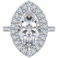 GIA Certified 6.32 Carat White Marquise Shape Platinum Diamond Engagement Ring